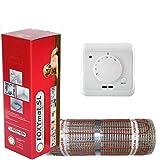 FOXYSHOP24-elektrische Fußbodenheizung PREMIUM MARKE FOXYMAT.SL RAPID (200 Watt pro m²,für die schnelle Erwärmung) mit Thermostat QM-AG,Komplett-Set, 5.0 m² (0.5m x 10m)