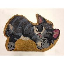 De fibra de coco-Felpudo con diseño de animales de gato, diseño de gatos form, 40 x 60 cm