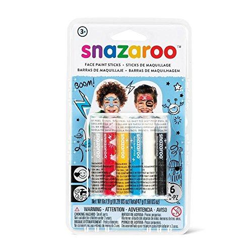 Snazaroo Schminkset für Jungen, Schminkstifte in 6 Farben