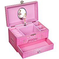 SONGMICS Ballerina Musical Jewellery Box, Wind-Up Music Box with Storage, Princess and Unicorn Theme, Pullout Drawers, for Little Girls, Pink, JMC009PK