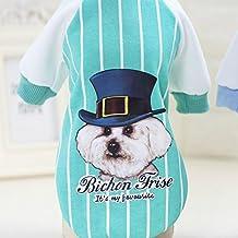 PLHF Ropa para perros a rayas Camisa de béisbol de otoño Teddy pet pet pies suéter, green, M