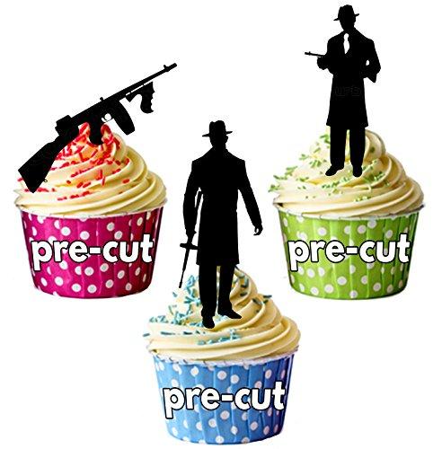 vorgeschnittenen Gangster Mob Silhouette 19201930–Essbare Cupcake Topper/Kuchen Dekorationen (12Stück) Gta-kuchen