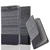 Cadorabo Hülle für Sony Xperia Z - Hülle in GRAU SCHWARZ – Handyhülle mit Standfunktion und Kartenfach im Stoff Design - Case Cover Schutzhülle Etui Tasche Book