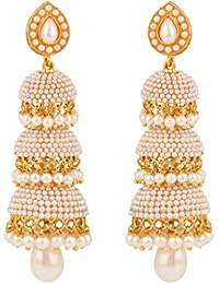 Shining Diva Traditional Pearl Stylish Fancy Party Wear Jhumki/Jhumka Earrings for Girls and Women