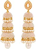 Shining Diva White Pearl Jhumka Earrings...