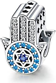 Hand of Fatima Charm for Pandora Bracelet 925 Sterling Silver Charms Good Lucky Dangle Charms Pendant with Blu