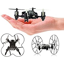 Top Race 4-Channel Micro Mini-Drone Rolling Quadcopter with Wheels, Fly, Roll, and Flip, TR-MQ3