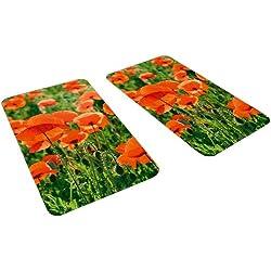 Wenko 2521434500 - Planchas protectoras para cocina con diseño de campo de amapolas, 2 piezas , de vidrio, cada una 30 x 1.8 y 4.5 x 52 cm, multicolor