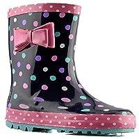 Infant Girls New Bow Trim Grip Sole Slip On Wellington Ankle Boots Shoes Size - Blue - UK 13 Kids