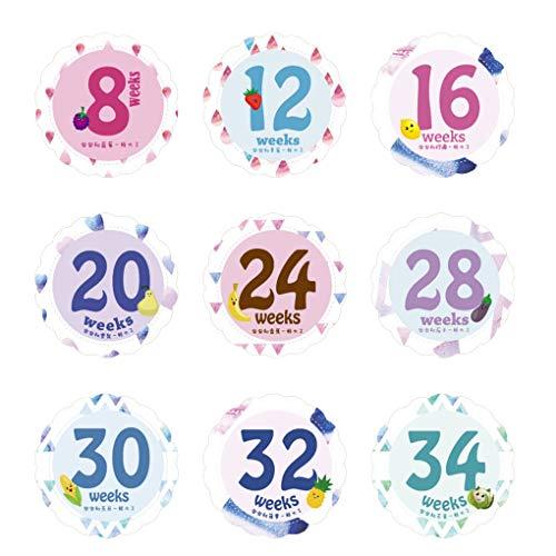 Techting 14 Blätter/Set Baby Monat Milestone Aufkleber Bauch der schwangeren Frauen Monthly Fotografie-Aufkleber Wochen Bilder Props (Bauch Schwanger Bilder)