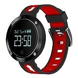 Fitness Tracker Uhr mit Pulsmesser, Zimingu DM58 Activity Armband Smart Watch, IP68 Wasserdicht Schrittzähler Sleep Monitor Sportuhr für iOS und Android Smartphone (schwarz rot)