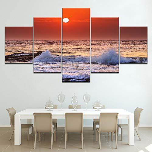 jjshily Il Mare Oceano Tramonto Paesaggio Marino 5 Pezzo Sfondi Moderni Modulari Poster Pittura su Tela per Soggiorno Home Decor, 30X80