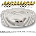 130dB 50m Koaxial SAT Kabel Antennenkabel Koaxkabel 4-fach geschirmt Koaxialkabel für DVB-S / S2 DVB-C und DVB-T BK Anlagen + 10 vergoldete F-Stecker SET Gratis dazu FULLHD 3D Digital