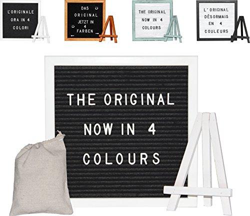 Premium Komplett Set Letter-Board in weiss| Inkl. Buchstaben, Ständer und Beutel | Buchstabenbrett Holz Filz Letters in weiß
