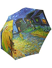 Arte de Van Gogh Custom plegable lluvia paraguas resistente al viento resistente al viento Floding Travel