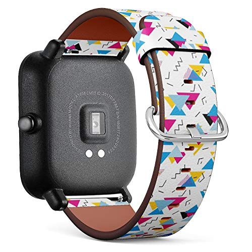 Geometric 80s Pattern Watch Strap, Leather. For Fit Bit Charge 3/SE