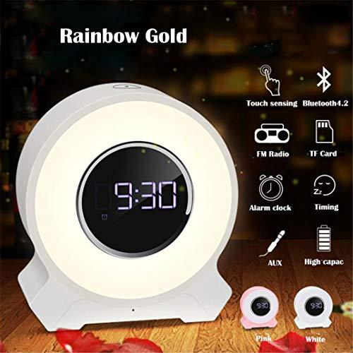 FENGCLOCK FM Radio Wecker, Lautsprecher Wireless Bluetooth Touch Multifunktions-Audio Nachttischuhr Elektronische Tischuhr, Buntes Nachtlicht,White