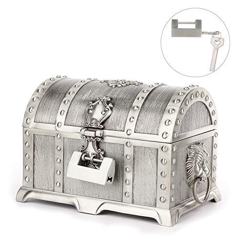 TMISHION Schatz Schmuck Box Vintage Style Tin Farbe Schatztruhe Schmuck Aufbewahrungsbox mit Schloss Schlüssel Schmuck Halter Fall -