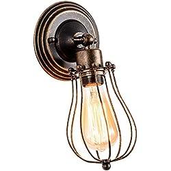 Apliques de Pared Vintage Ajustable Metal Lampara Rustica Retro Lámpara Industrial de Pared E27 para la Salon, Cocina, Desván, Restaurante, Cafe, Club Decoración (Bombillas No Incluidas) (Bronce)