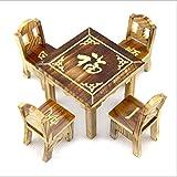 Mini Tisch und Stühle Set Spielzeug für Kinder Holz Tisch und Stühle Kleines Spielzeug Spielhaus Spielzeug 100% Handgemacht Modell Gabel Kunst Raumdekoration Kreative Dekoration Ornamente für Haus