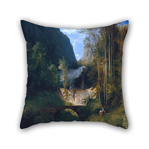 beautifulseason Throw Pillow Case of Oil Painting Carl Blechen - Schlucht Bei Amalfi,for Husband,Chair,Home Theater,Family,Adults,Kids 18 X 18 Inches/45 by 45 cm(Both Sides) - Toile Farm