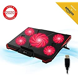 KLIMTM Cyclone - Refroidisseur Ordinateur Portable - Le Plus Puissant - Refroidissement Ultra Rapide - 5 Ventilateurs Silencieux - Refroidisseur PC Portable PS4 Xbox One - Rouge Nouvelle Version 2019