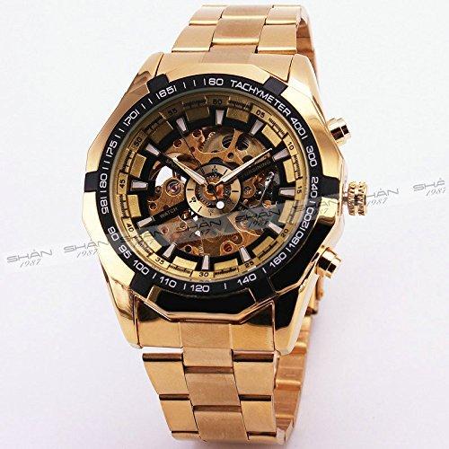 Meistverkauftes russisches Skelett – Luxus-Herrenuhr, automatische mechanische Armbanduhr, goldenes Armband, schwarzes Zifferblatt.