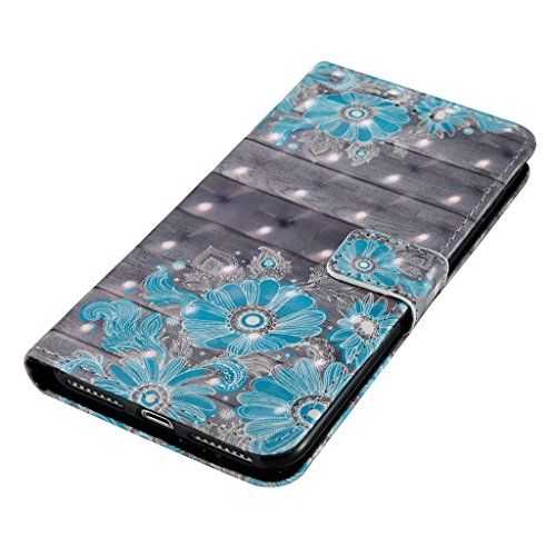 iPhone 7 Plus Coque,Careynoce Papillon Fleur Capteur de rêves 3D Relief Retro Painted Pattern Conception Flip PU Cuir Housse Etui Coque Case Cover pour Apple iPhone 7 Plus (5.5 pouces) -- Bleu Fleur M09