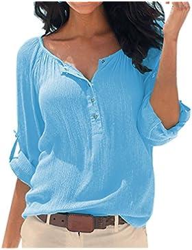 SUNNOW Nuova maglietta allentata della camicetta della maglietta del cotone lungo del manicotto del V-collo delle...