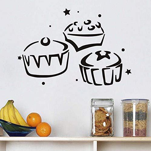 Knncch Drei Cupcake Küche Wandaufkleber Wasserdichte Wohnkultur Aushöhlen Design Abnehmbare Diy Vinyl Aufkleber Für Kinderzimmer Dekoration