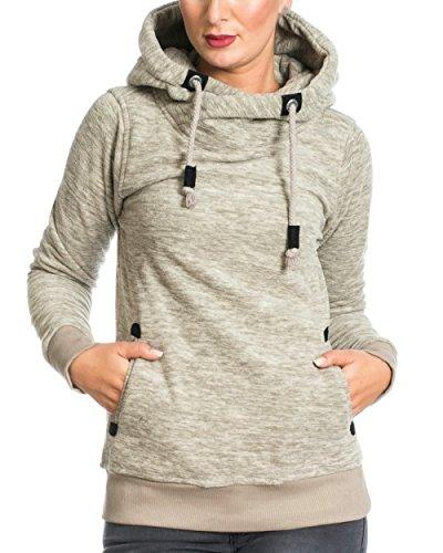 ZEARO Sublevel Damen Kapuzen Pullover Sweatshirt Hoodie Fleece Grau