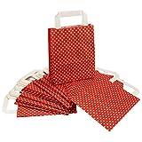 Papiertragetaschen rot-weiß gepunktet, 24 Stück Tüten aus Kraftpapier ca. 18x22x8 cm  Papiertüten 80g/m²  Papiertragetaschen mit weißem Papiergriff  Innenseite der Papiertasche ist weiß  Kraftpapiertüte ideal zum Verpacken von Geschenken  Geschenkstüten zum Dekorieren / Selbstgestalten / Verzieren  super Qualität | trendmarkt24 - 231991