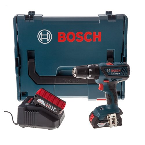 Bosch Professional GSB18-2-LI PLUS Perceuse visseuse à percussion 2 x 18 V 2 Ah (version et prise...