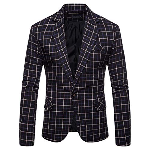 Schwarze Nadelstreifen-jacket (TWISFER Herren Blazer Plaid Sakko Business Hochzeitsanzug Revers Slim Fit Outwear Blazer Coat Outwear Anzuege Party Smoking Outwear Langarm Kostüm Eleganter Cocktail Jacket)