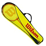 Wilson Badminton Set, Gear Kit, Unisex, Incl. Two Badminton Rackets, Two Plastic Shuttlecocks and One Carry Bag, Orange/Yellow, WRT8755003