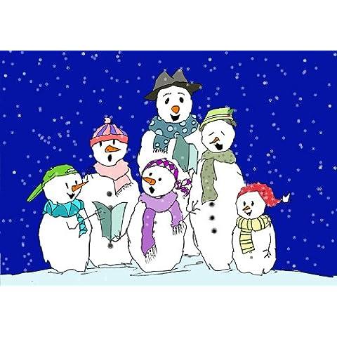 –Coro pupazzo di neve stagionale simpatico ed umoristico di auguri di Natale