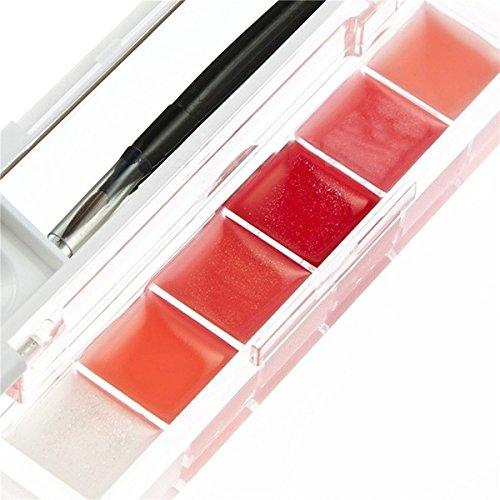 Brillant a levres style A - SODIAL(R)6 Brillant a levres Hydratant pour le Maquillage avec un Miroir et un pinceau de maquillage- style A
