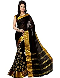 Indian Rang Cotton Silk Black Color In New Collection Saree With Blouse Piece