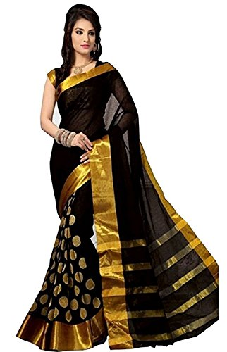 Indian Rang Cotton Silk Black Color In New Collection Saree With Blouse...