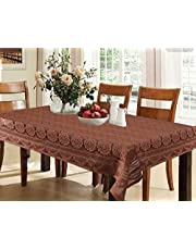 Kuber Industries Circle Design Cotton 6 Seater Dining Table Cover (Brown)-CTKTC32649