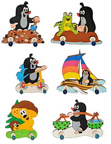 Garderobenhaken - der kleine Maulwurf mit Boot - Holz Kinder 2 Haken Wandhaken / Kinderzimmer Garderobe Kleiderhaken - für Mädchen & Jungen