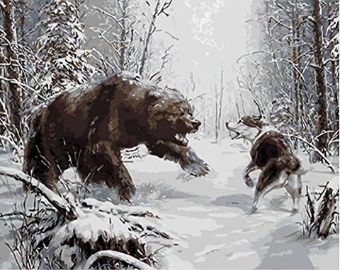 Obella issu de la gamme Kits de peinture par numéros Loup Ours Wrestles 50x 40cm issu de la gamme Peinture par numéros numériques, peinture à l'huile, sans cadre