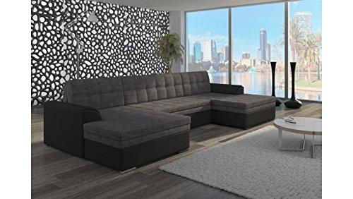 JUSTyou Vento Canapé d'angle panoramique Sofa Ensemble de Salon Tissu structuré Simili Cuir (lxLxH): 165x365x81 cm Noir Gris I