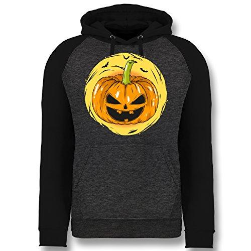 (Shirtracer Halloween - Halloween Kürbis Gesicht - M - Anthrazit meliert/Schwarz - JH009 - Baseball Hoodie)