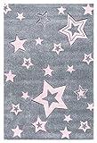 Kinderteppich Love Rugs Starlight grau/rosa 100 x 160 cm