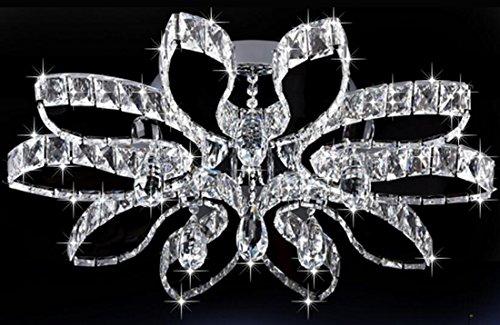 Onfly Blütenblatt-Form-Kristalldeckenleuchte, bündiges Berg-Umgebungslicht, LED, Kristallanhänger, moderne Innendeco-Beleuchtung, 110-120V 220-240V (Color : Double color light)