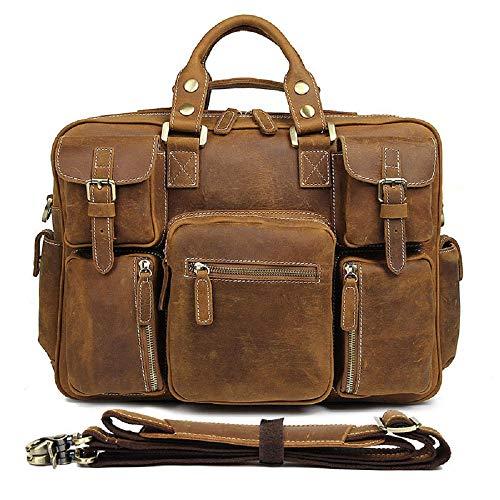 CUIYAN Erste Schicht Leder Herrentasche, europäische und amerikanische Retro Crazy Horse Leder Handtasche, Herren Multi-Pocket-Einkaufstasche,Messing (Kleine Datei-erweiterung)