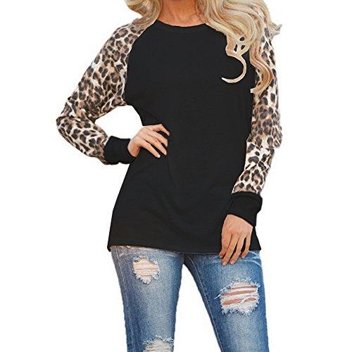 Juleya Damen Langarm-Shirt - Klassischer Leopardenmuster Damen Basic Bluse Lässiger Pullover für Herbst und Winter Schwarz / Weiß / Lila / Grau (Plaid Schiere)