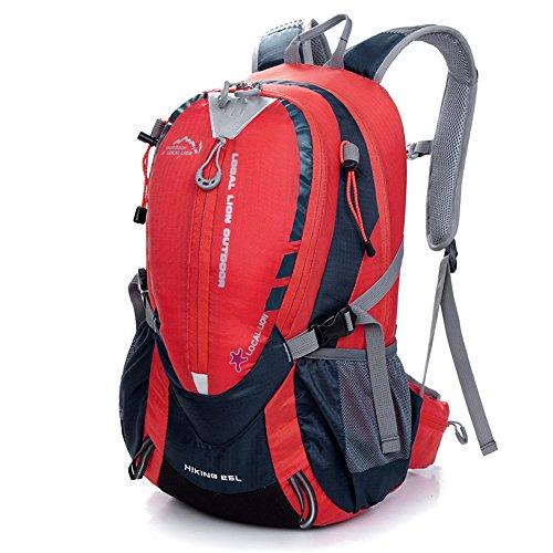 Tofern Multiuso 25 Litri Zaino da Trekking Outdoor Donna e Uomo Unisex Impermeabile per Campeggio Ciclismo Escursionismo Sci Pesca Borsa da Viaggio Zainetto, Rosso rosso