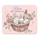 Gaming Mauspad mit Fotodruck Mousepad 220 x 180 mm Rutschfest Schwarz Fransenfreier Rand Präzision Drogerie Markt Rose Bio Kosmetik bedruckt